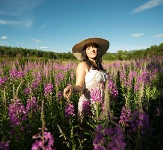 fire weed, Portrait photographer in terrace, outdoor portrait, woman in purple flowers, purple flowers,